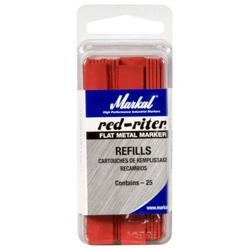 Markal Red Riter Flat Metal Marker Refills (25 Pack)