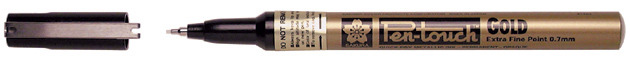 Sakura Pen Touch Permanent Marker - Extra Fine Tip - Gold